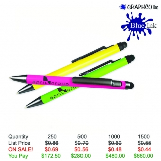 Clip Action Plunger Pen with Stylus